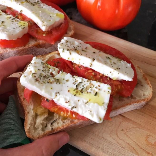 Tomato and feta toast