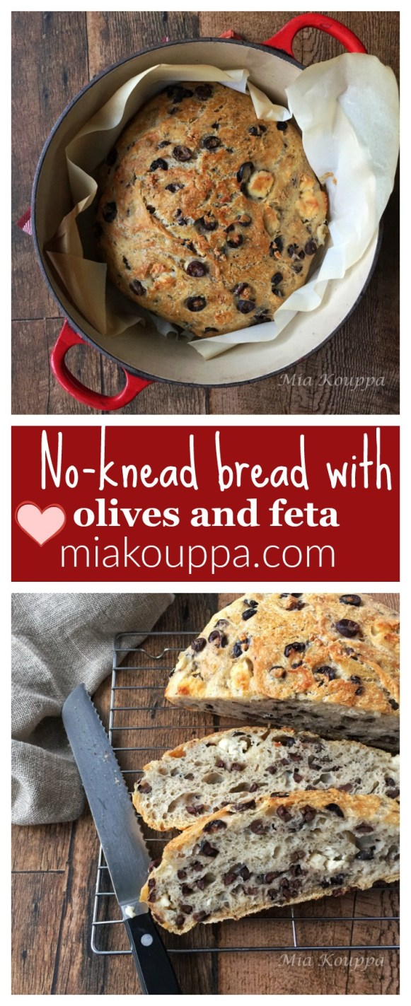 No-knead bread with olives and feta