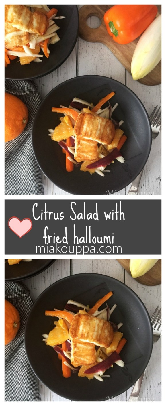Citrus salad with fried halloumi