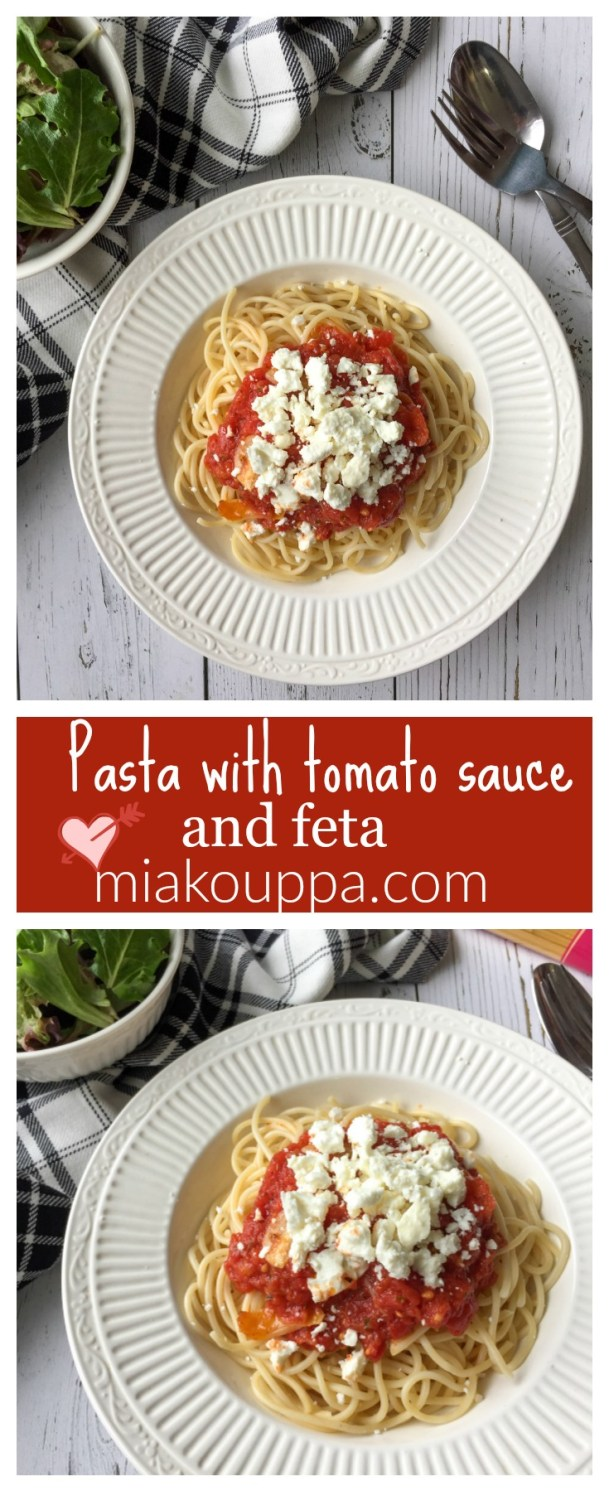 Pasta with tomato sauce and feta