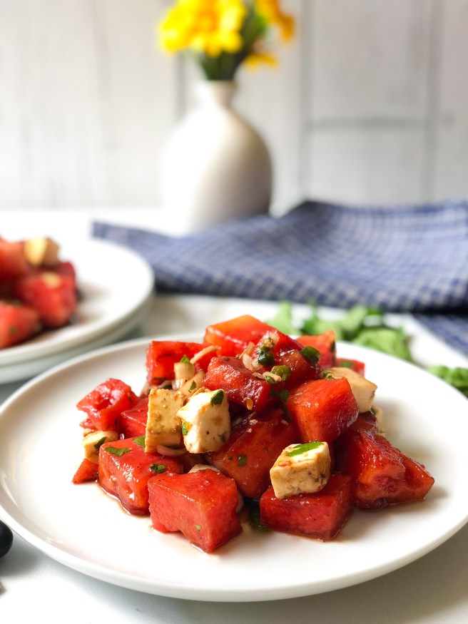 Grilled watermelon and feta salad