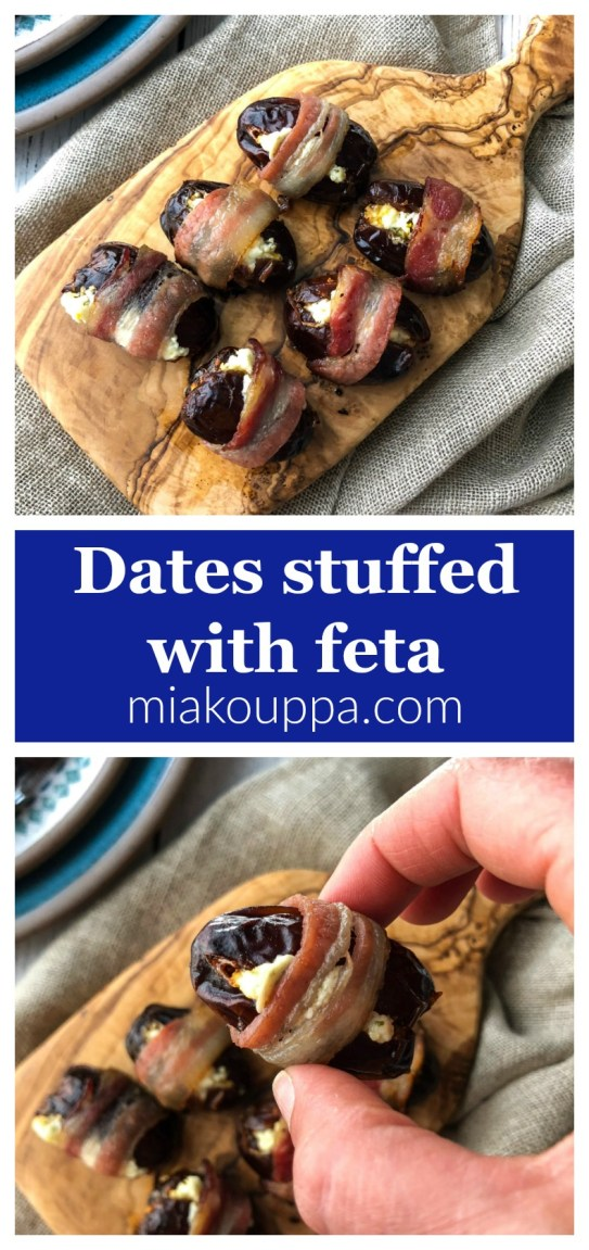 Bacon wrapped dates stuffed with feta (Τυλιχτοί χουρμάδες σε μπέικον και φέτα)