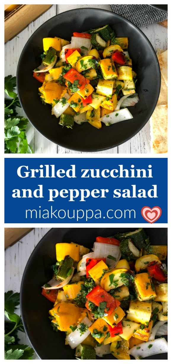 Grilled zucchini and bell pepper salad