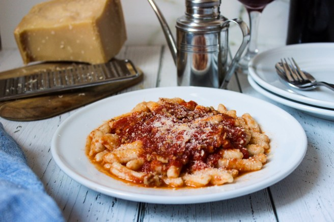 Homemade pasta with meat sauce