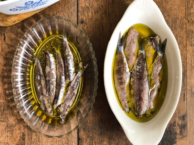 Salted sardines and anchovies