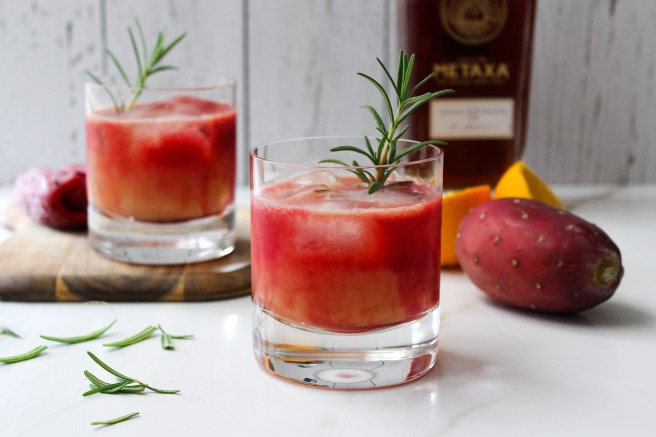 Cactus pear, orange and Metaxa cocktail