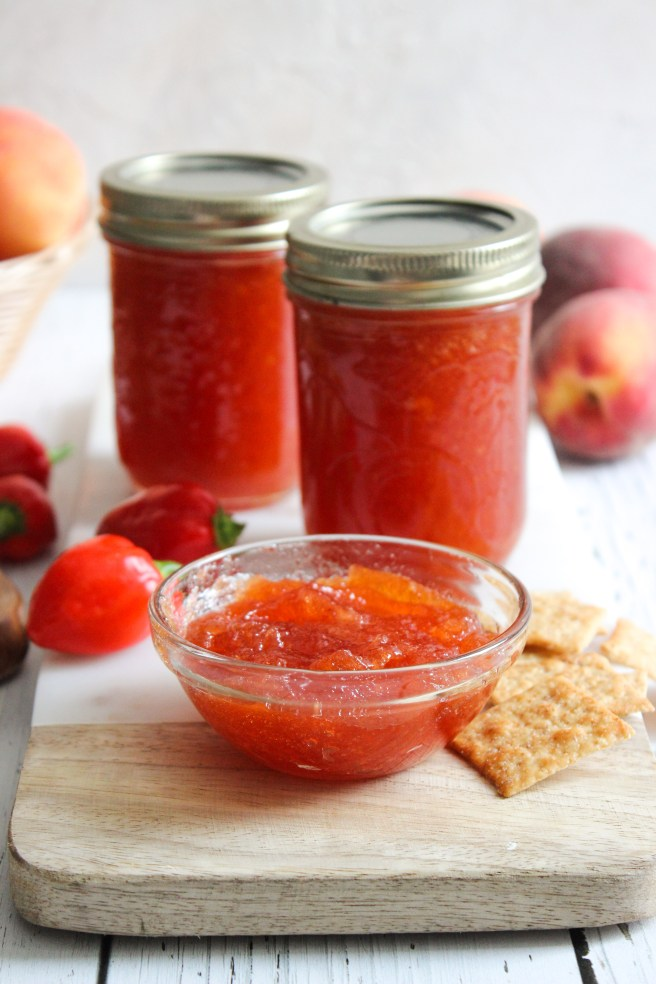 Peach and habanero pepper jam