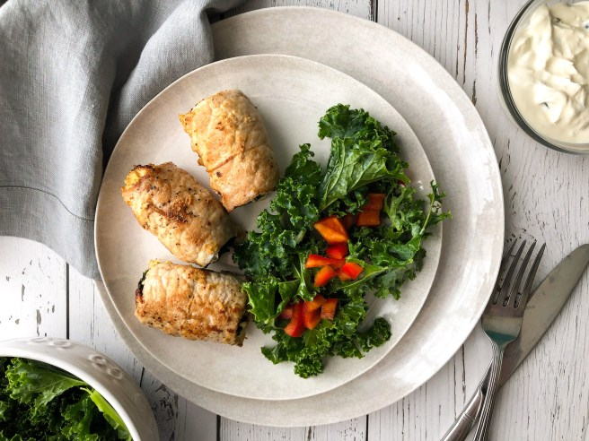 Spinach and feta pork roll-ups