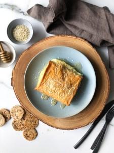 Baked feta wrapped in filo dough
