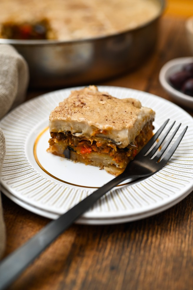 A recipe for a plant-based, soy-free version of the classic Greek moussaka.