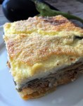 A Greek classic of layered eggplant, potato, meat sauce and béchamel