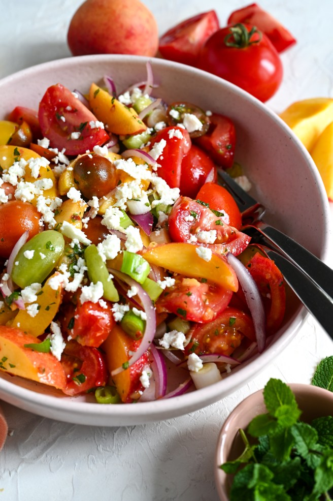 Peach, tomato and feta salad is a refreshing and delicious summer side or light meal.