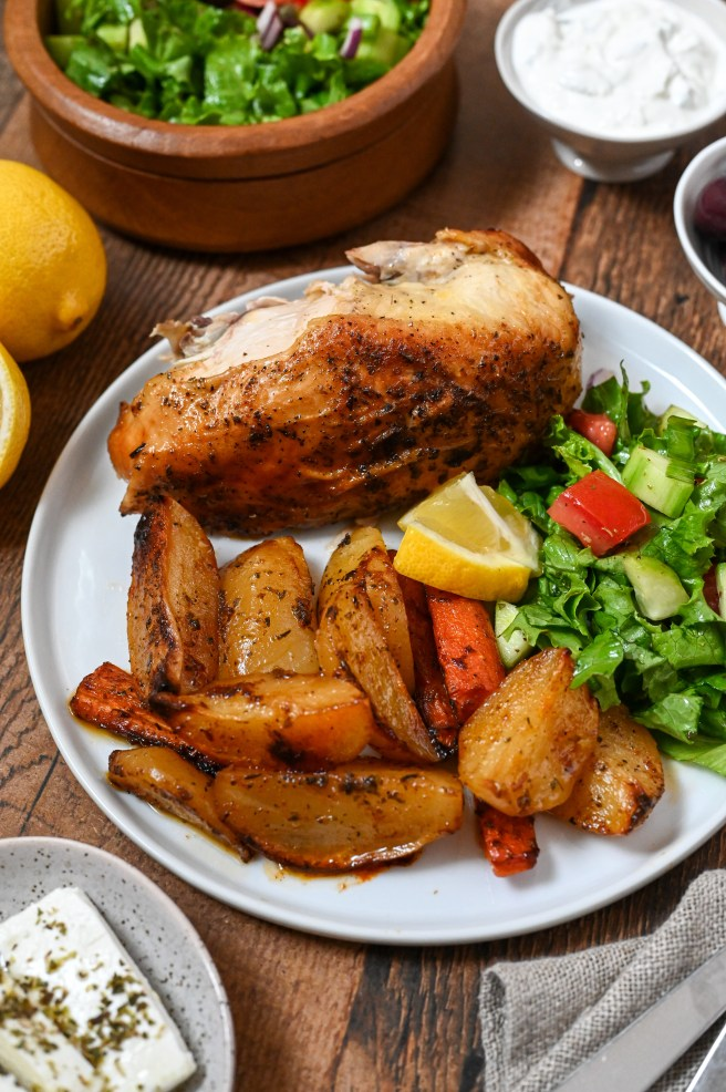 The best roast chicken and Greek-style potatoes full of lemon flavour and roasted to perfection.