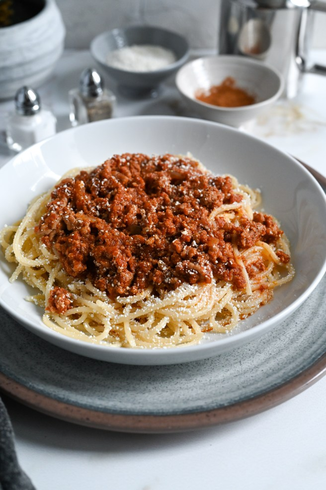 Greek-style spaghetti with meat sauce is a meal that is pure comfort food.