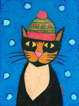 Mia Meow Children's Book Cat Character Painting by Artist BZTAT