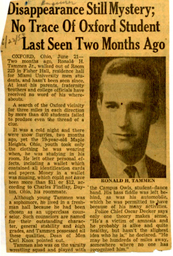 Newspaper clipping of Ron Tammen disappearance