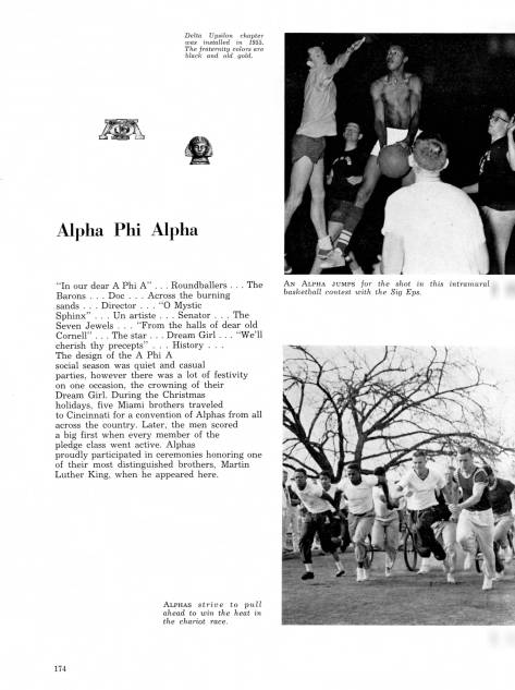 """Alphas proudly participated in ceremonies honoring one of their most distinguished brothers, Martin Luther King, when he appeared here."" – 1959 Recensio, Miami yearbook"
