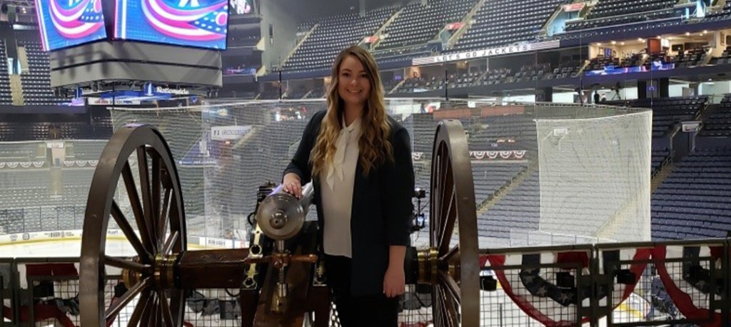 Photo of Madison White in the Columbus Blue Jackets stadium.