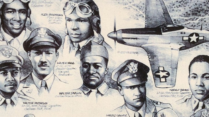 Black and white photo of Central Ohio's Tuskegee Airmen