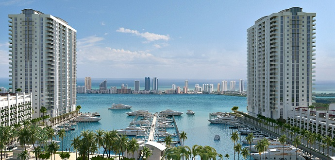 Marina Palms Yacht Club And Twin Luxury Condo Towers In
