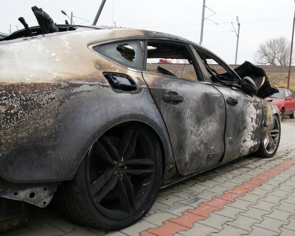 Lamborghini on fire