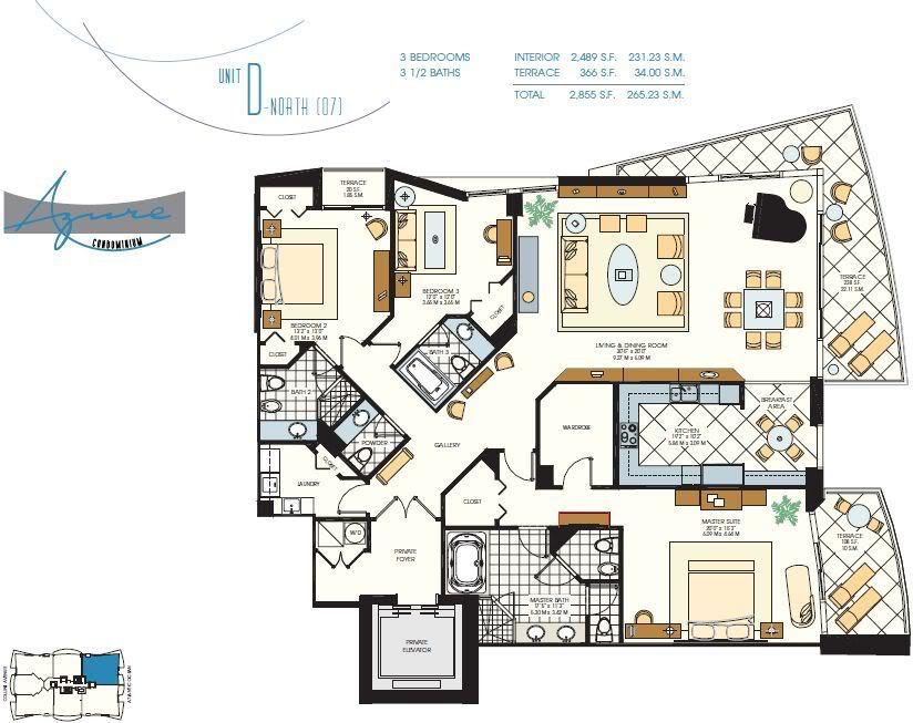 3 Bedroom/3.5 Bath Luxury, Beachfront Condo