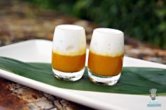 Juvia - Brunch - Passionfruit and Mango Shots with a Piña Colada Foam
