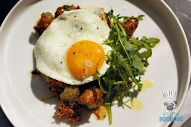 Three - Brunch - Duck Confit Hash with Sunny Side Up Egg