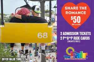 Youth Fair 'Share the Romance' Deal: 2 admissions and 2 P.O.P. tickets for $50