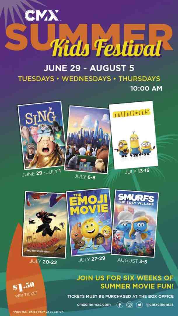 CMX summer film festival kids' movies