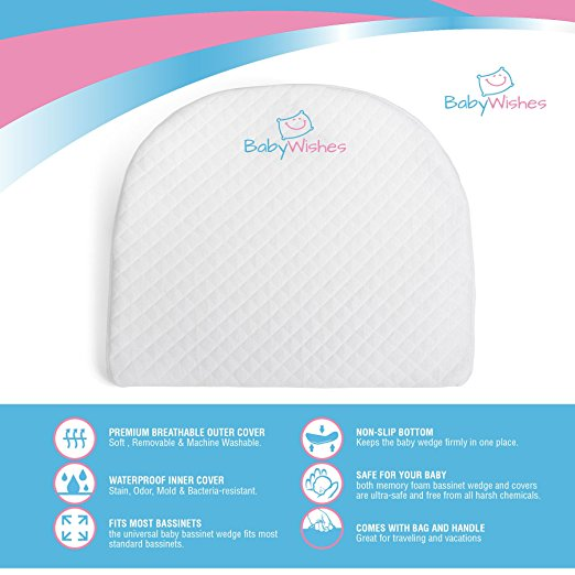 Baby Wishes Universal Bassinet Wedge for Better Baby Sleep Premium Breathable Cover, Waterproof Inner Cover, BPA Free5