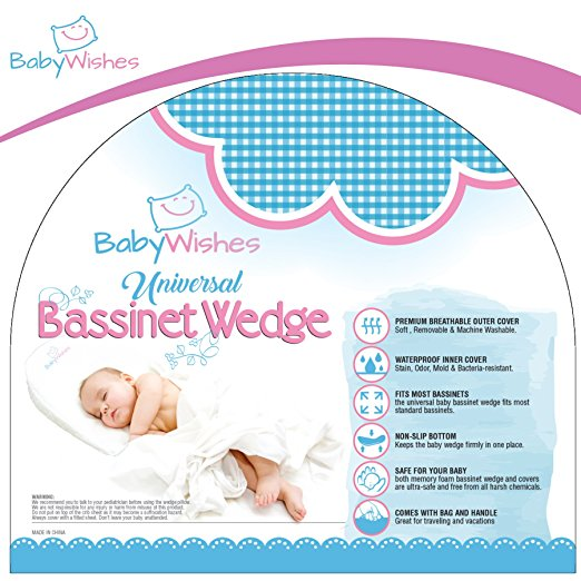 Baby Wishes Universal Bassinet Wedge for Better Baby Sleep Premium Breathable Cover, Waterproof Inner Cover, BPA Free6