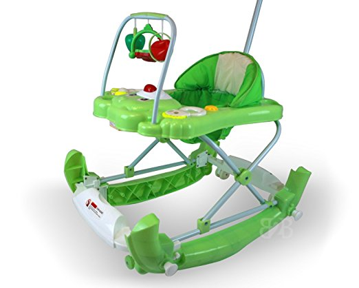 Best Safety 3 in 1 Walker, Rocker, Parent push handle, and emergency stair stopper (Bear) (Green) 4