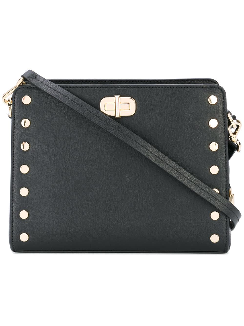 Bolsa carteiro Sylvie em couro com tachas