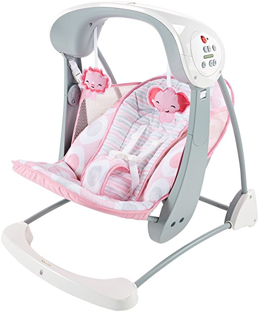Cadeirinha de balanço Fisher-Price Deluxe Take Along Swing and Seat, Pink White 2