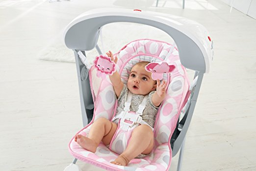 Cadeirinha de balanço Fisher-Price Deluxe Take Along Swing and Seat, Pink White 3