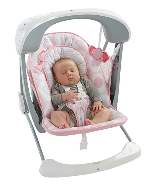 Cadeirinha de balanço Fisher-Price Deluxe Take Along Swing and Seat, Pink White