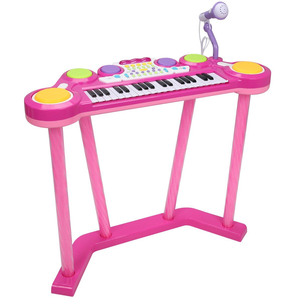 Costzon 2 In 1 Electronic Keyboard and Drum Musical 37-Key Toy Electronic Organ Piano and Drum with Microphone and Flashing Legs (Pink)