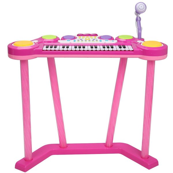 Costzon 2 In 1 Electronic Keyboard and Drum Musical 37-Key Toy Electronic Organ Piano and Drum with Microphone and Flashing Legs (Pink)2