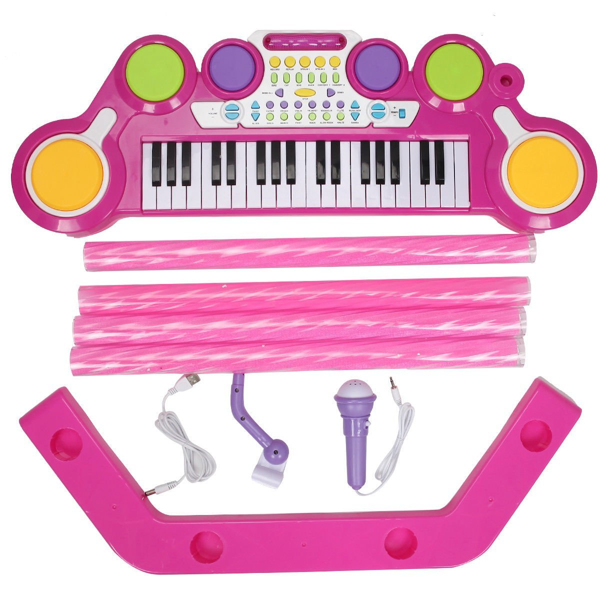 Costzon 2 In 1 Electronic Keyboard and Drum Musical 37-Key Toy Electronic Organ Piano and Drum with Microphone and Flashing Legs (Pink)6