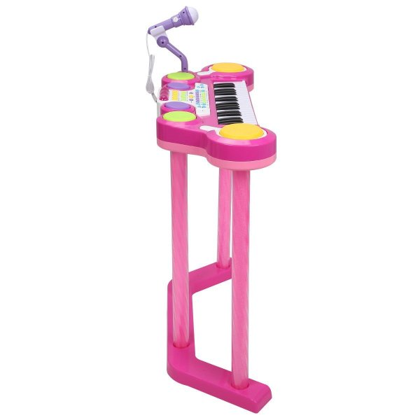 Costzon 2 In 1 Electronic Keyboard and Drum Musical 37-Key Toy Electronic Organ Piano and Drum with Microphone and Flashing Legs (Pink)7