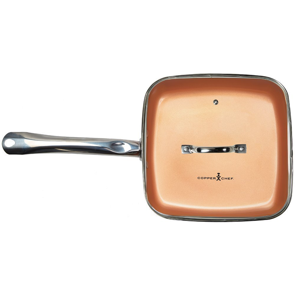Frigideira quadrada Copper Chef Square Fry Pan with Lid, 9.5 inch