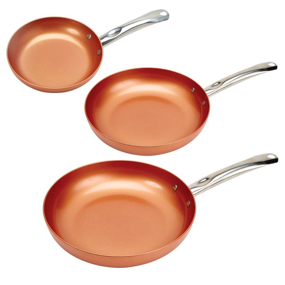 """Jogo de Frigideira Copper Chef Round Pan 3 Pack 8/10/12"""""""