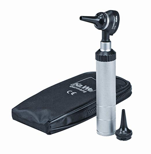 KaWe COMBILIGHT Professional C10 Otoscope, 3x Magnification, Includes Dimmable Rheostat and Carrying Bag, Silver