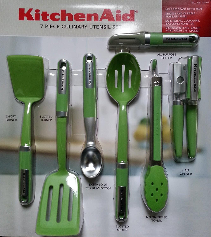 Kit De Utensílios KitchenAid Com 7 Peças cor Verde