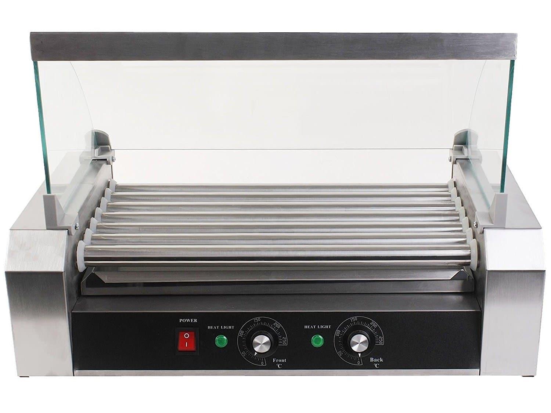 Maquina de Cachorro-quente 18 - 7 Roller Grill Cooker Machine w/ Cover