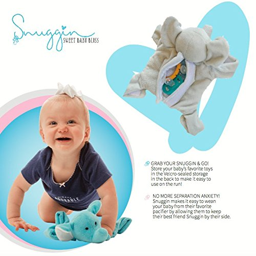 Snuggin – The Comforting Day and Night Lovey Miracle for Babies (Gray Elephant) – Plush Stuffed Animal Pacifier and Teether Holder 5