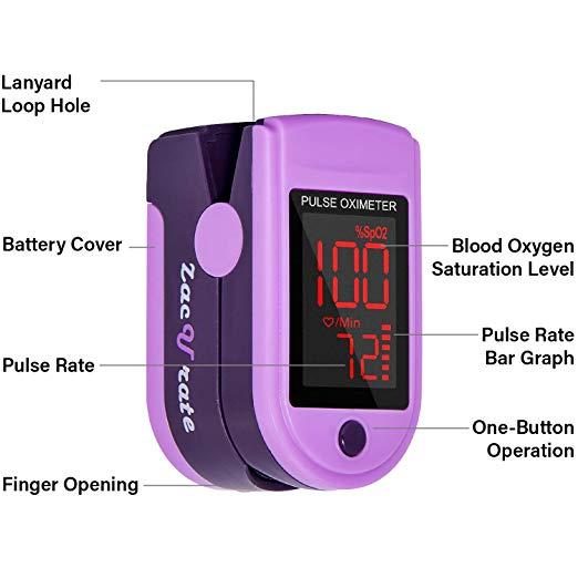Zacurate Pro Series 500DL Dedo Oxímetro de pulso Monitor de Saturação de Oxigênio No Sangue com tampa de silicone, baterias e cordão (Roxo Real) 2