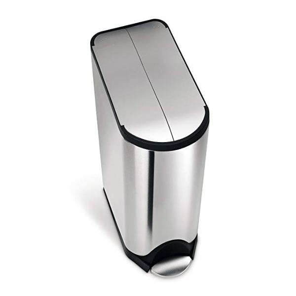 11.9 Gallon Stainless Steel Butterfly Lid Kitchen Step Trash Can, Brushed Stainless Steel