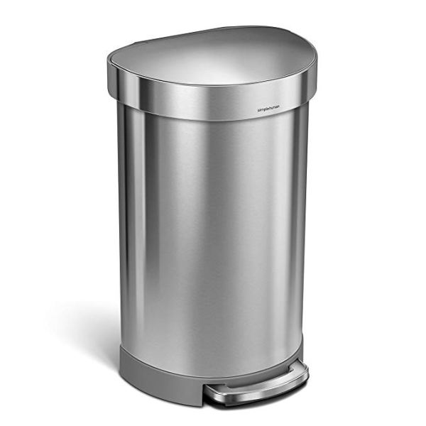 12 Gallon Stainless Steel Semi-Round Kitchen Step Trash Can with Liner Rim, Brushed Stainless Steel